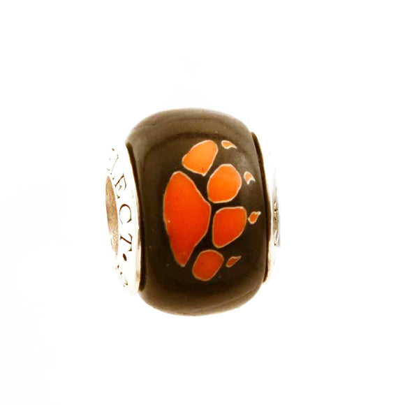Orange Paw Prints on Black Charm