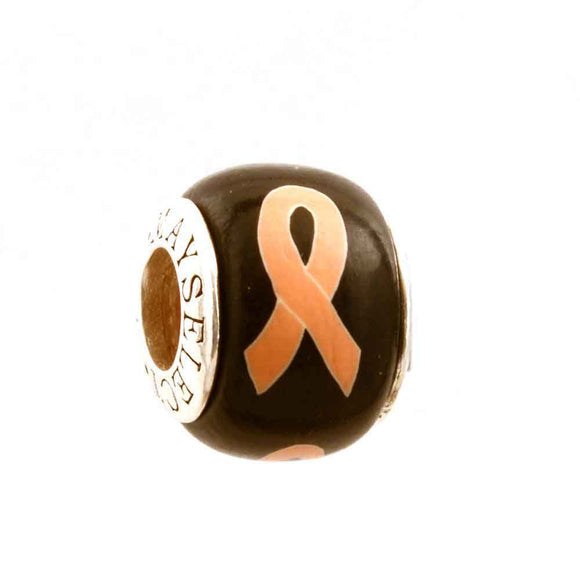 Endometrial/Uterine Cancer Peach Ribbon on Black Charm
