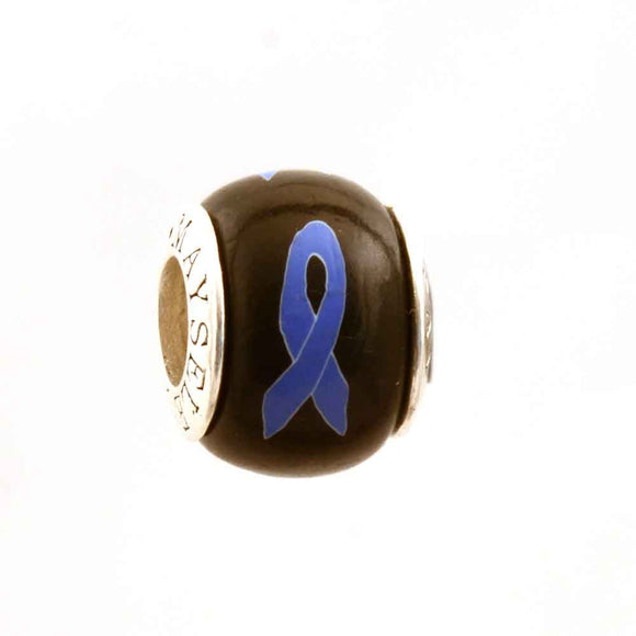 Esophageal Cancer Periwinkle Ribbon on Black Charm