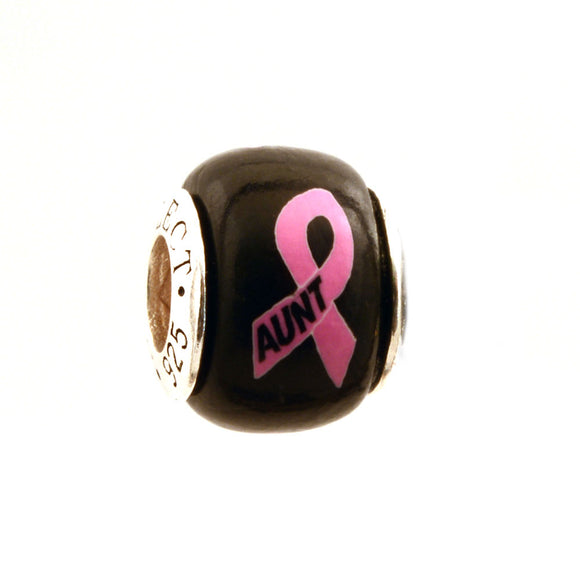 Breast Cancer Awareness AUNT Pink Ribbon on Black Charm