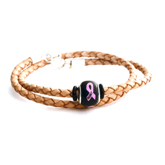 Breast Cancer Awareness (AUNT) Double Wrap Tan Leather Bracelet & Charm COMBO