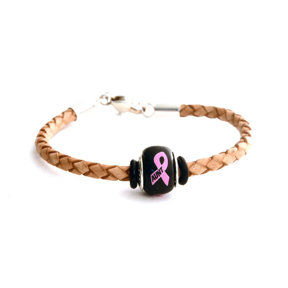 Breast Cancer Awareness (AUNT) Tan Leather Bracelet & Charm COMBO
