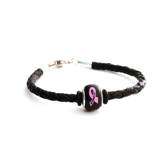 Breast Cancer Awareness (COACH) Black Leather Bracelet & Charm COMBO