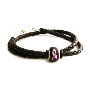 Breast Cancer Awareness (COACH) Double Wrap Black Leather Bracelet & Charm COMBO