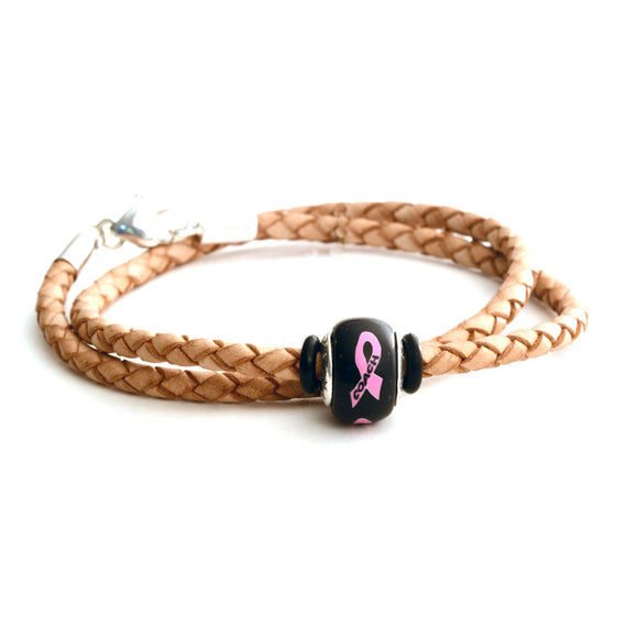 Breast Cancer Awareness (COACH) Double Wrap Tan Leather Bracelet & Charm COMBO