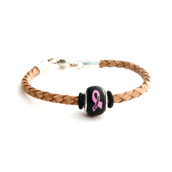 Breast Cancer Awareness (COACH) Tan Leather Bracelet & Charm COMBO