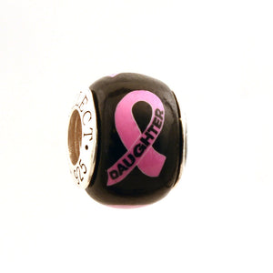 Breast Cancer Awareness DAUGHTER Pink Ribbon on Black Charm