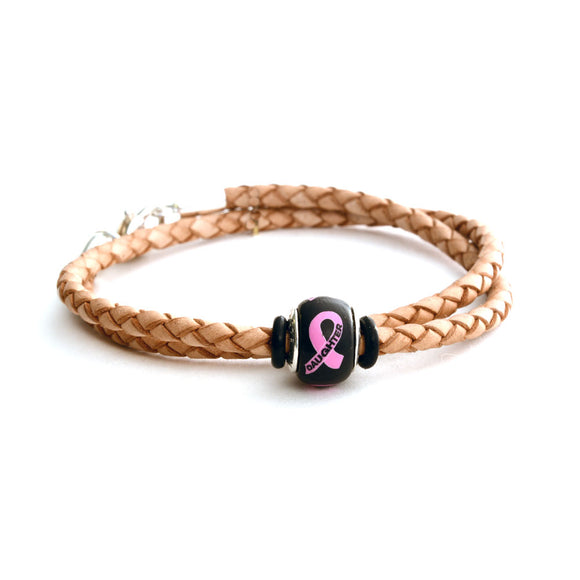 Breast Cancer Awareness (DAUGHTER) Double Wrap Tan Leather Bracelet & Charm COMBO