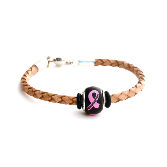 Breast Cancer Awareness (DAUGHTER) Tan Leather Bracelet & Charm COMBO