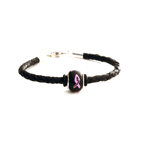 Breast Cancer Awareness (FRIEND) Black Leather Bracelet & Charm COMBO