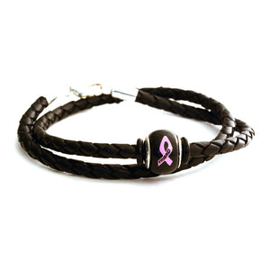 Breast Cancer Awareness (FRIEND) Double Wrap Black Leather Bracelet & Charm COMBO