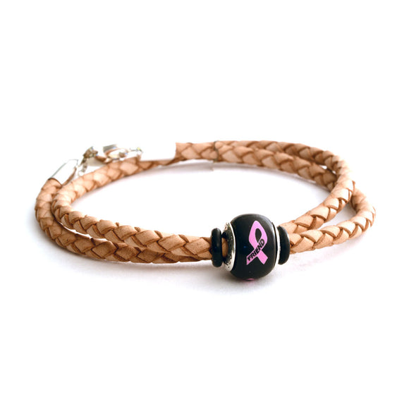Breast Cancer Awareness (FRIEND) Double Wrap Tan Leather Bracelet & Charm COMBO