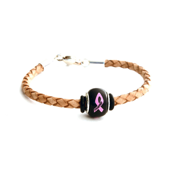Breast Cancer Awareness (FRIEND) Tan Leather Bracelet & Charm COMBO