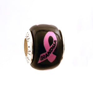Breast Cancer Awareness GRANDMA Pink Ribbon on Black Charm