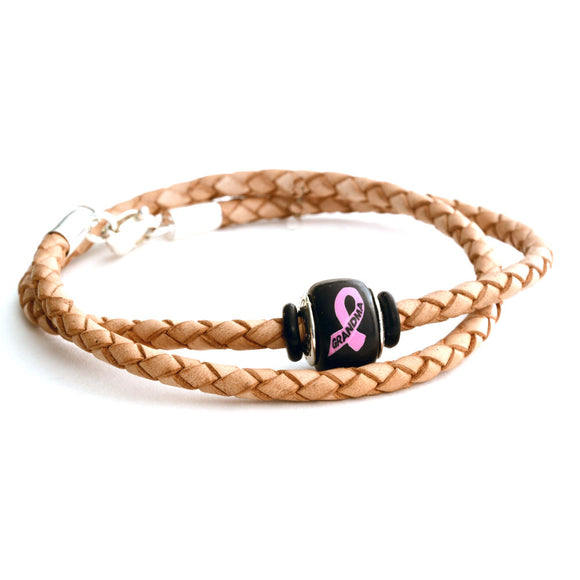 Breast Cancer Awareness (GRANDMA) Double Wrap Tan Leather Bracelet & Charm COMBO