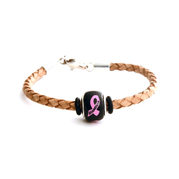 Breast Cancer Awareness (GRANDMA) Tan Leather Bracelet & Charm COMBO