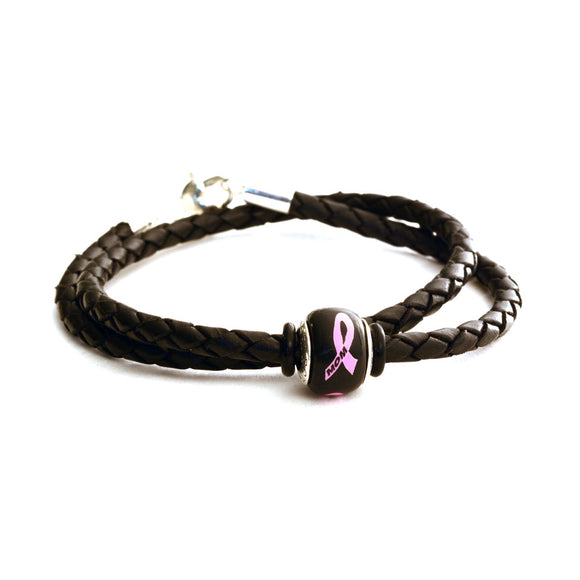 Breast Cancer Awareness (MOM) Double Wrap Black Leather Bracelet & Charm COMBO
