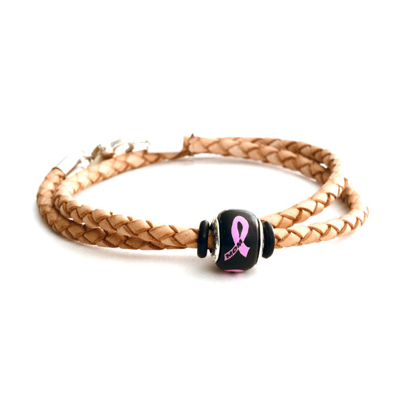 Breast Cancer Awareness (MOM) Double Wrap Tan Leather Bracelet & Charm COMBO