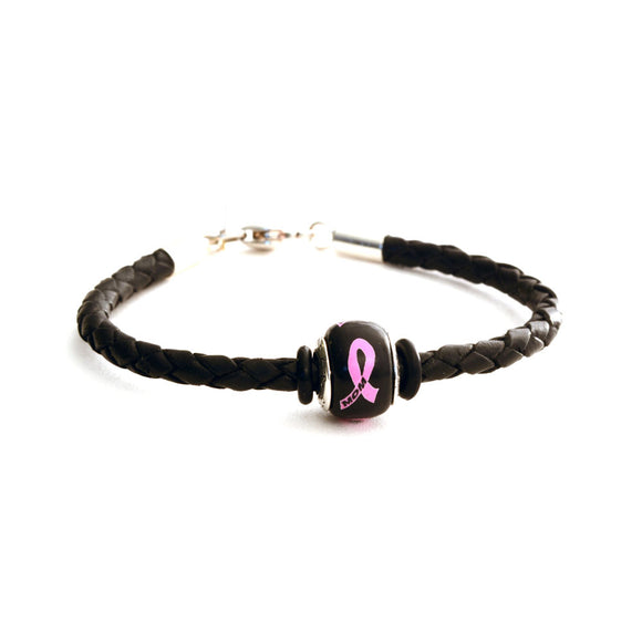 Breast Cancer Awareness (MOM) Black Leather Bracelet & Charm COMBO