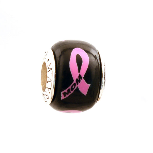 Breast Cancer Awareness MOM Pink Ribbon on Black Charm