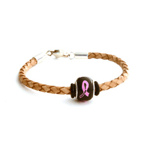Breast Cancer Awareness (MOM) Tan Leather Bracelet & Charm COMBO