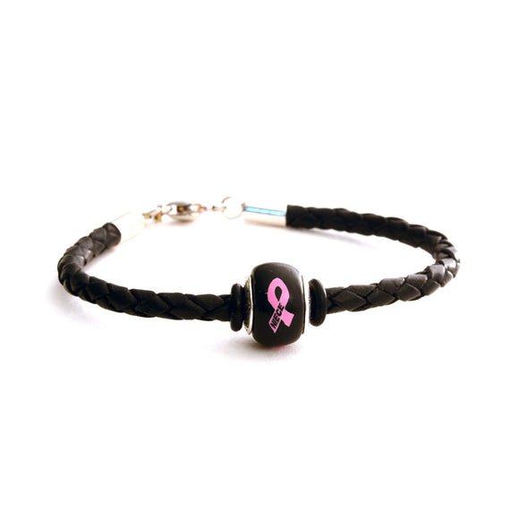 Breast Cancer Awareness (NIECE) Black Leather Bracelet & Charm COMBO