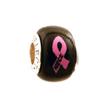 Breast Cancer Awareness NIECE Pink Ribbon on Black Charm