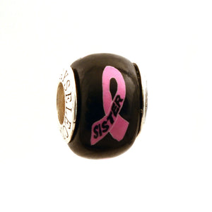 Breast Cancer Awareness SISTER Pink Ribbon on Black Charm