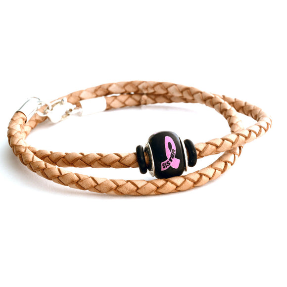 Breast Cancer Awareness (SISTER) Double Wrap Tan Leather Bracelet & Charm COMBO