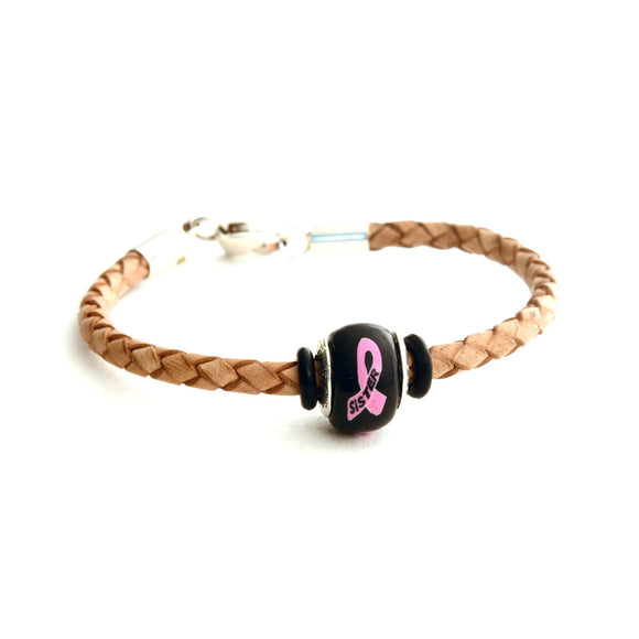 Breast Cancer Awareness (SISTER) Tan Leather Bracelet & Charm COMBO