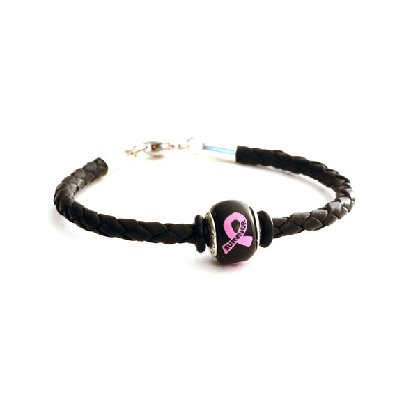 Breast Cancer Awareness (SURVIVOR) Black Leather Bracelet & Charm COMBO
