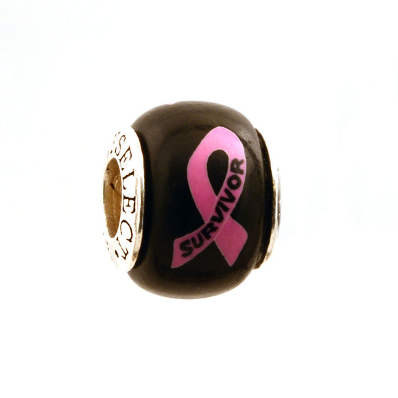 Breast Cancer Awareness SURVIVOR Pink Ribbon on Black Charm