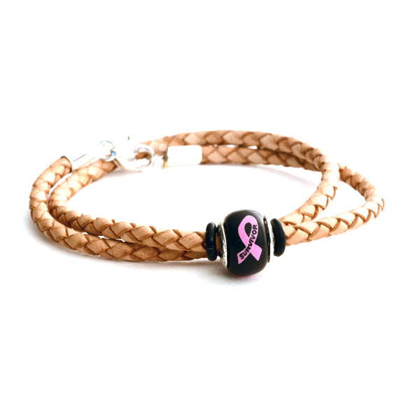 Breast Cancer Awareness (SURVIVOR) Double Wrap Tan Leather Bracelet & Charm COMBO