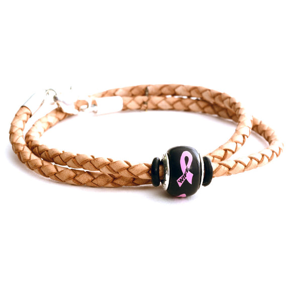 Breast Cancer Awareness (WIFE) Double Wrap Tan Leather Bracelet & Charm COMBO
