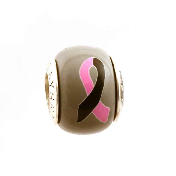 Loss of a Daughter/Sister Pink & Black Ribbon on Grey Charm