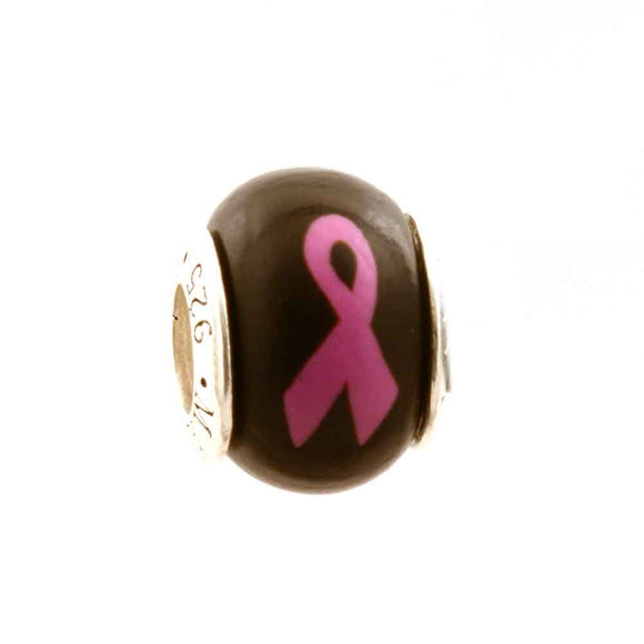 Breast Cancer Pink Ribbon on Black Charm