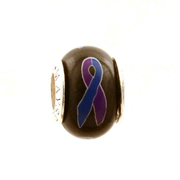Rheumatoid Arthritis Purple & Royal Ribbon on Black Charm