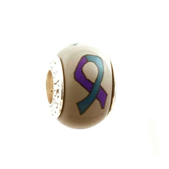 Suicide Awareness, Domestic Violence and Sexual Assault Purple & Teal Ribbon on Grey Charm