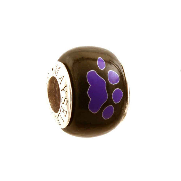 Purple Paw Prints on Black Charm