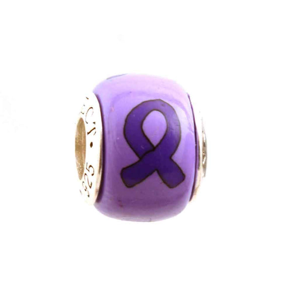 Alzheimer's Epilepsy Purple Ribbon on Light Purple Charm