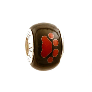 Red Paw Prints on Black Charm
