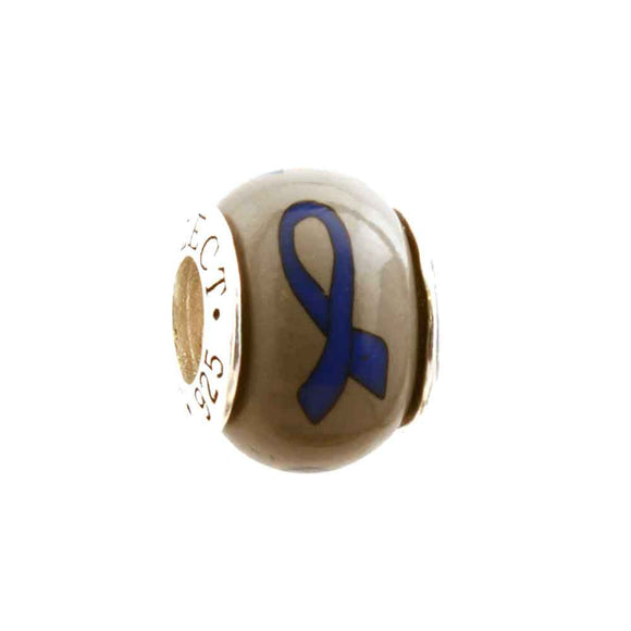 Colon Cancer Royal Blue Ribbon on Grey Charm