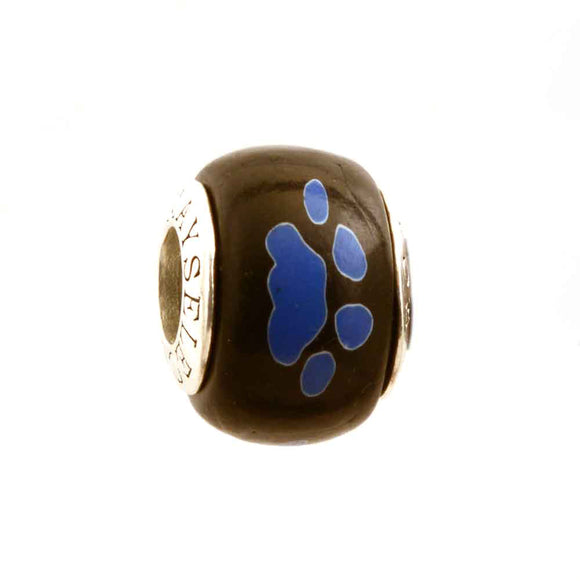 Royal Paw Prints on Black Charm