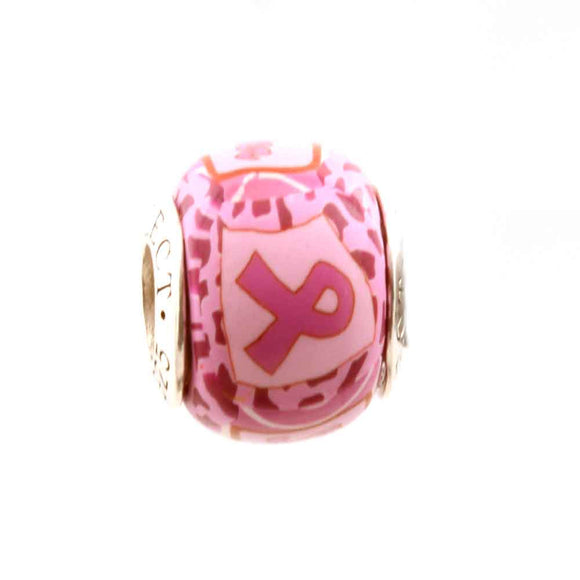Breast Cancer Pink Ribbon on Pink Charm