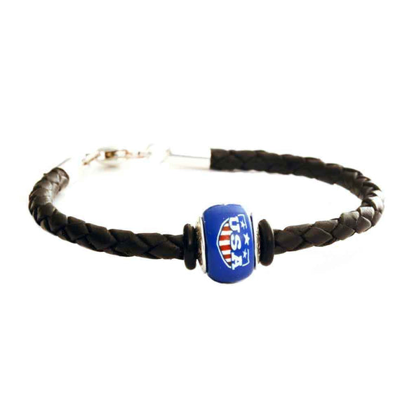 Leather Bracelet - Black Braided