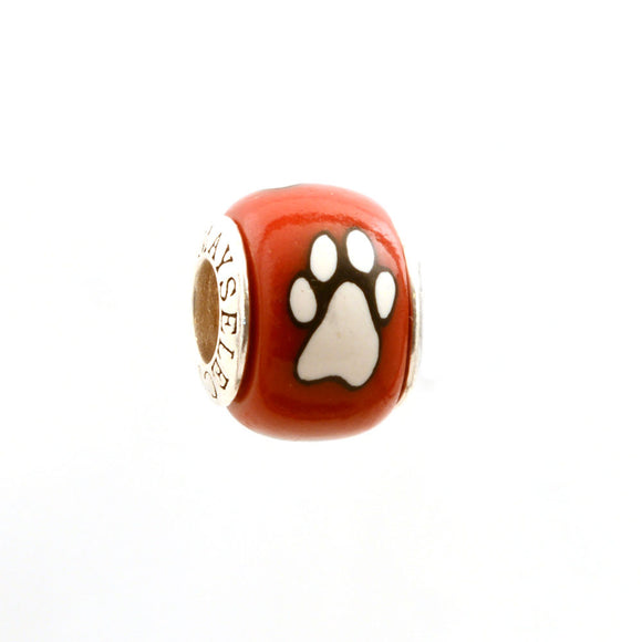 Paw Prints - White on Red