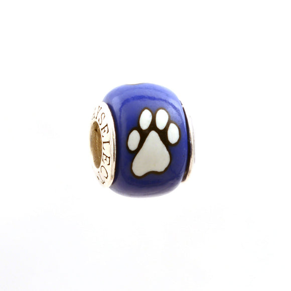 Paw Prints - White on Royal