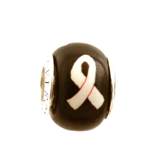 Lung Cancer White/Pearl Ribbon on Black Charm