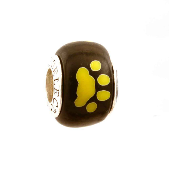Yellow Paw Prints on Black Charm