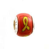 Yellow Ribbon on Red Charm
